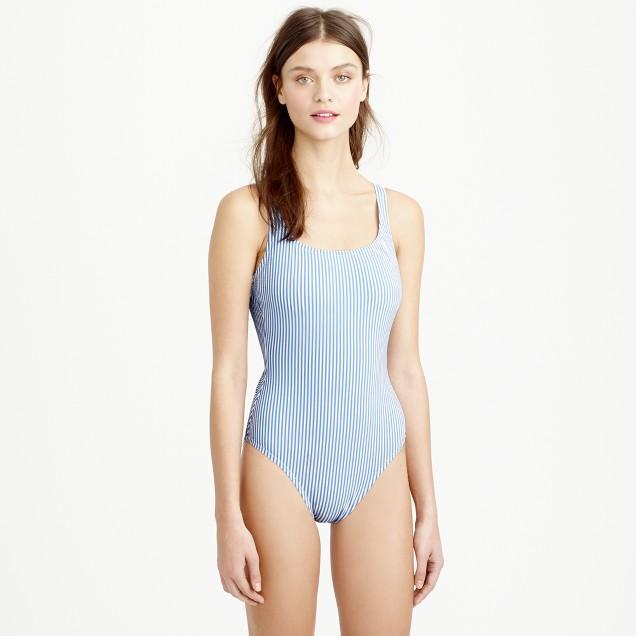 Seersucker scoopback one-piece swimsuit