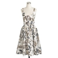 Petite linen zip-front dress in gold foil leaf