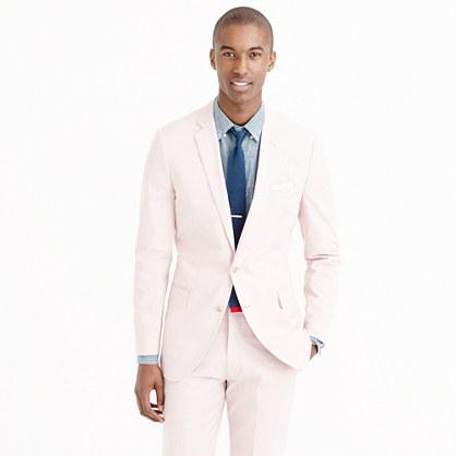 Ludlow suit jacket in fine-striped cotton