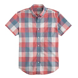 Short-sleeve lightweight vintage oxford shirt in triple gingham