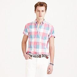 Short-sleeve lightweight vintage oxford shirt in triple gingham