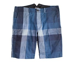 Wallace & Barnes worker suit short in indigo buffalo check
