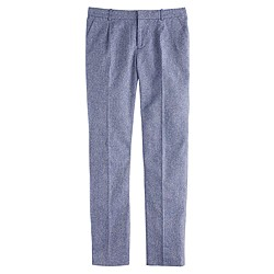 Mélange herringbone pleated trouser