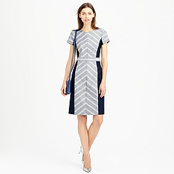 Petite colorblock chevron dress