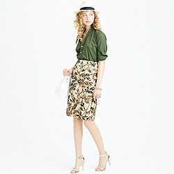 Gold foil leaf pencil skirt