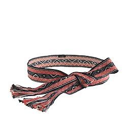 Woven diamond fringe tie belt