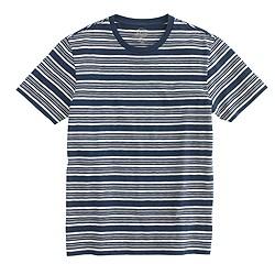 Textured cotton T-shirt in multistripe