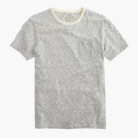 Slub cotton textured pocket T-shirt in wavy stripe