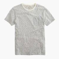 Tall slub cotton textured pocket T-shirt in wavy stripe