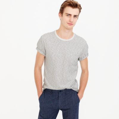 Tall slub cotton textured pocket T-shirt in wavy stripe