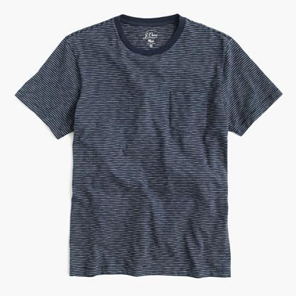 Slub cotton textured pocket T-shirt in wavy stripe