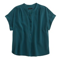 Cropped silk popover shirt