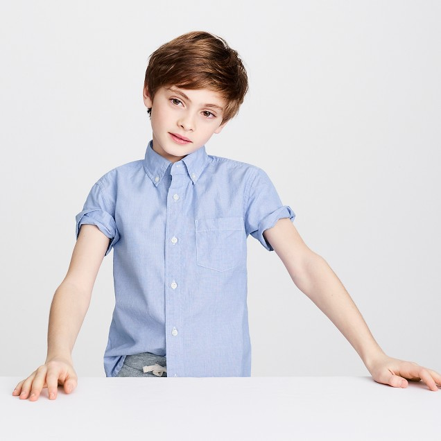 Kids' short-sleeve Secret Wash end-on-end shirt