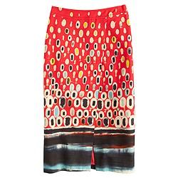 Collection faux-wrap skirt in watercolor mosaic