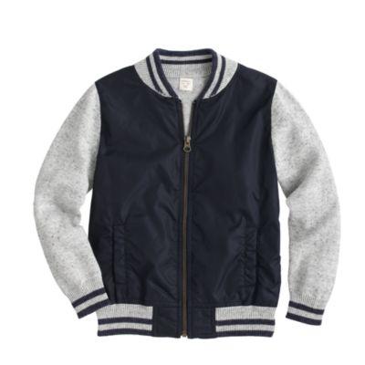 Boys' cotton baseball sweater-jacket :