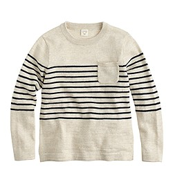 Boys' engineer-striped pocket sweater