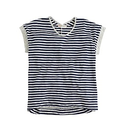 Girls' swingy striped T-shirt