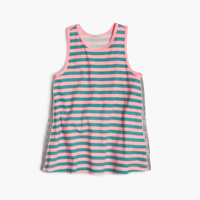 Girls' striped sparkle tank top