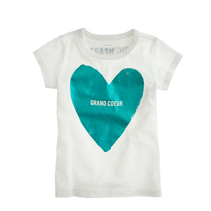 Girls' big foil heart tee