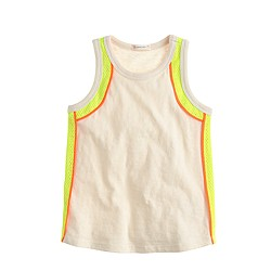 Girls' neon mesh trim tank top