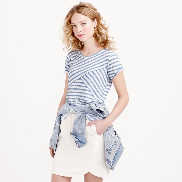 Linen cross stripe T-shirt
