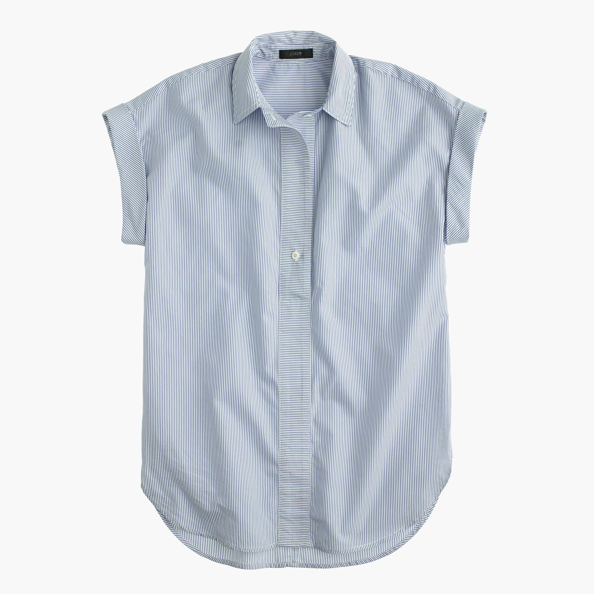 Petite Short Sleeve Popover Shirt In Stripe Women 39 S