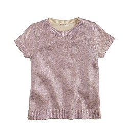 Girls' metallic short-sleeve popover sweater