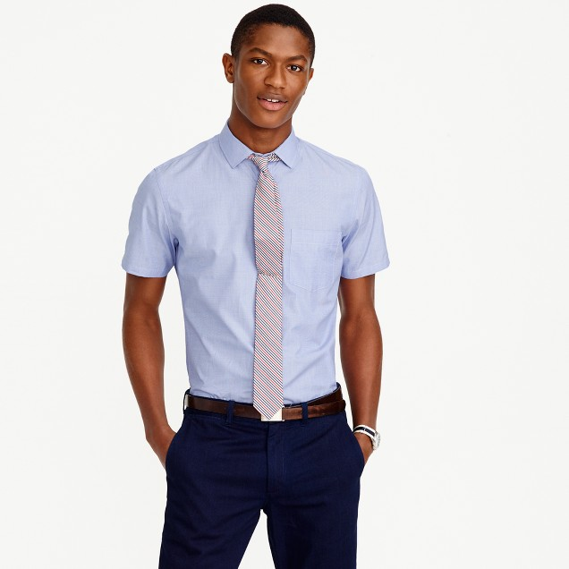 Ludlow short-sleeve shirt in end-on-end cotton