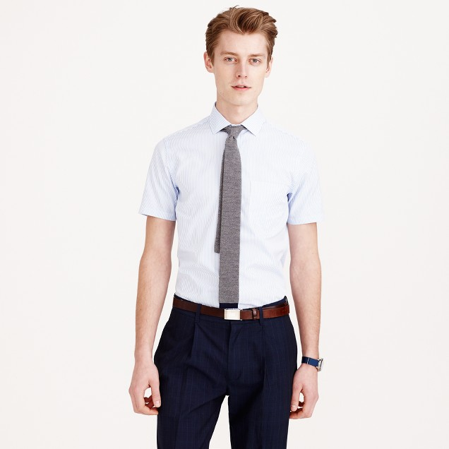 Ludlow short-sleeve shirt in pale blue stripe