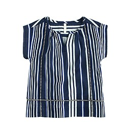 Girls' striped gauze top