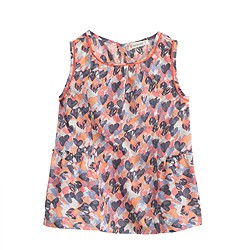 Girls' sleeveless swingy top in stamp hearts