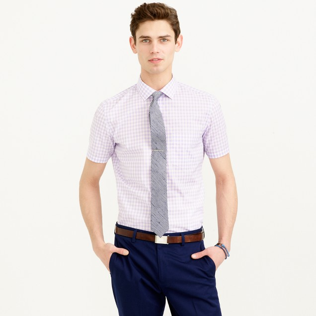 Thomas Mason® for J.Crew short-sleeve Ludlow shirt in violet gingham
