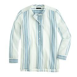 Petite collarless popover shirt in seashore stripe
