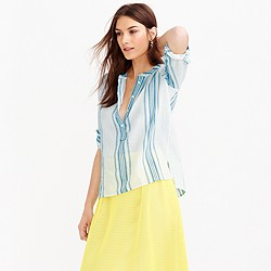 Petite collarless popover shirt in seashore stripe