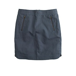 Zip-pocket canvas mini skirt
