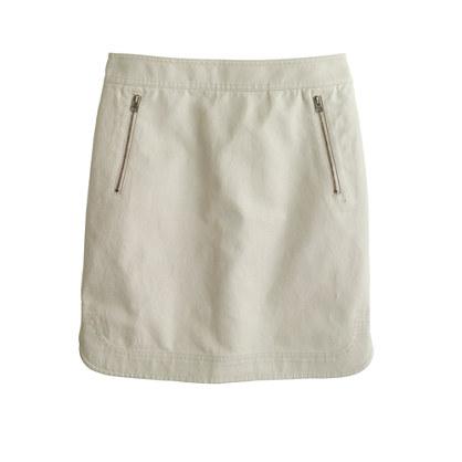 Zip-pocket canvas mini skirt