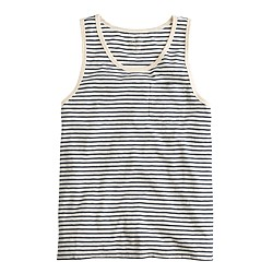 Textured cotton tank top in washed sand stripe