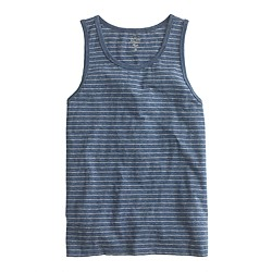 Textured cotton tank top in microstripe