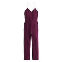 Petite silk strappy jumpsuit