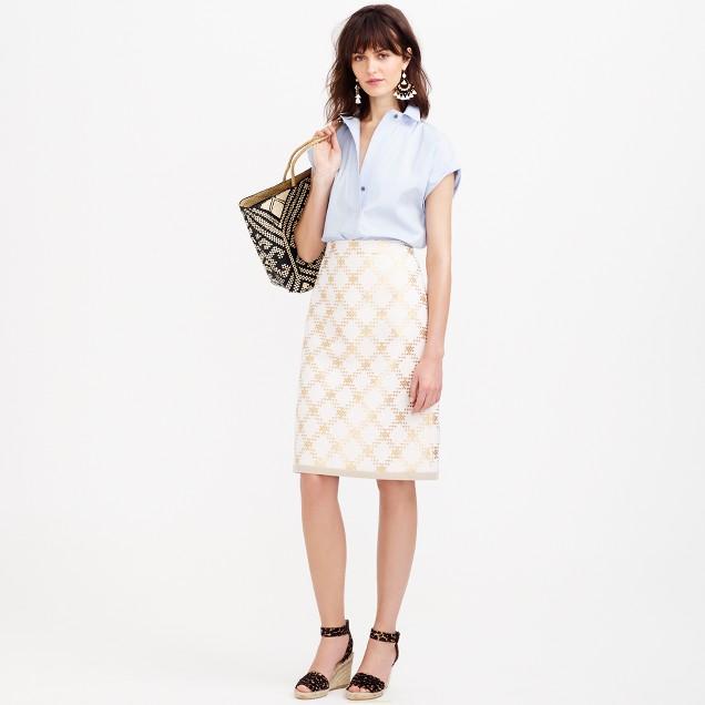 Collection metallic tweed pencil skirt