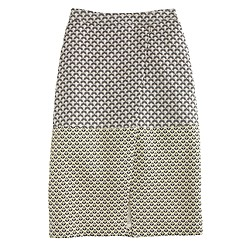 Collection mixed Italian jacquard faux-wrap skirt
