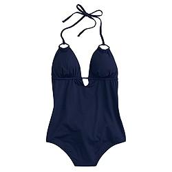 Jersey Lomellina® halter V-neck one-piece swimsuit