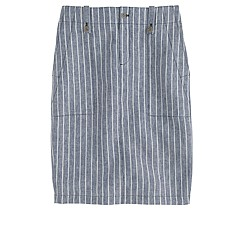 Linen cargo pencil skirt in stripe