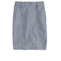Petite linen cargo pencil skirt in stripe