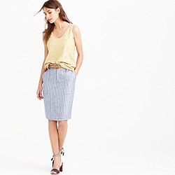 Petite linen cargo pencil skirt in stripe