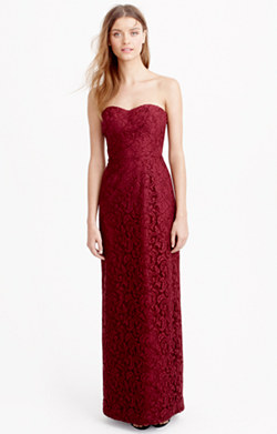 Natasha long dress in Leavers lace