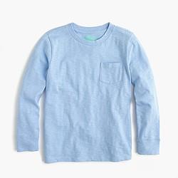 Boys' slub long-sleeve pocket T-shirt