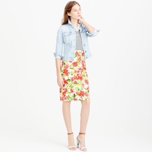 Collection hibiscus pencil skirt