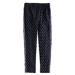 Petite pull-on ikat pant with metallic tux stripes
