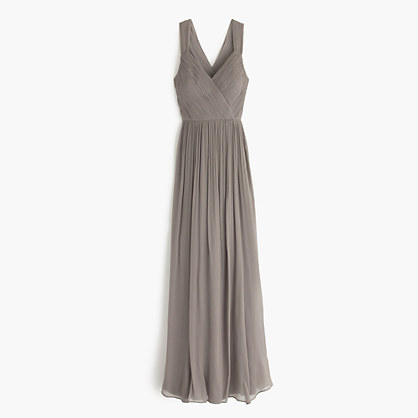 Anabel long dress in silk chiffon